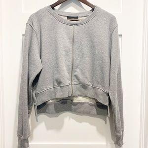 Diesel Grey Crop Hi-Low Sweatshirt w/ Zipper Front